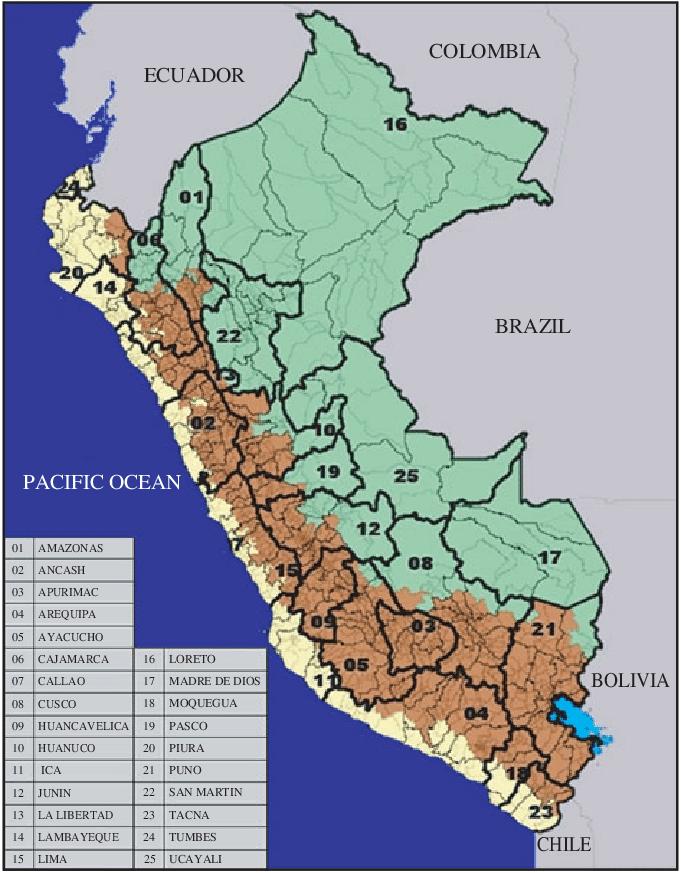 Geografische gebieden van Peru