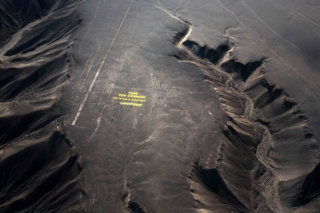 Greenpeace actie bij Nazca lijnen