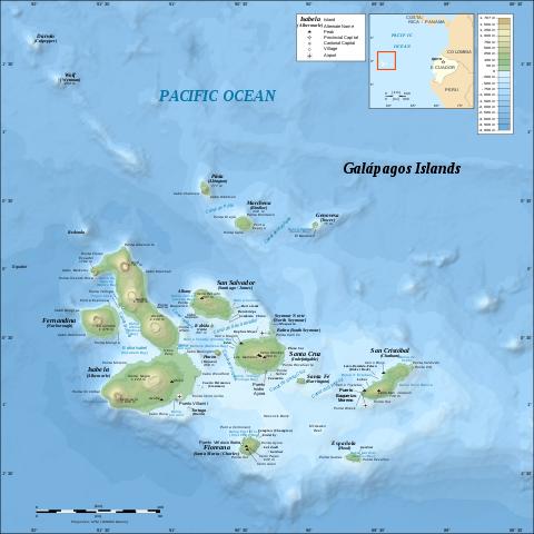 Kaart van Galapagos eilanden