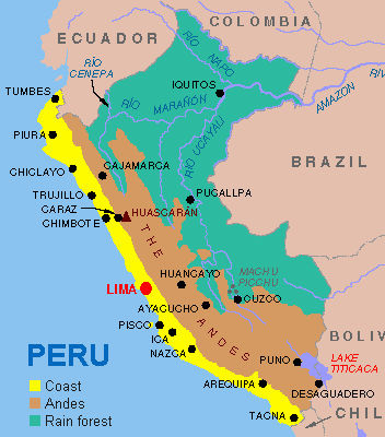 De drie zones in Peru: kust, Andes en oerwoud