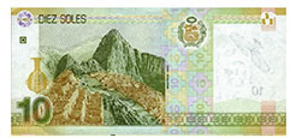 Achterkant bankbiljet 10 Peruaanse Nueva Sol