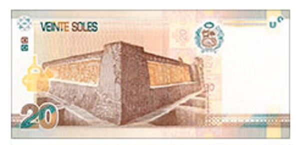 Achterkant bankbiljet 20 Peruaanse Nueva Sol