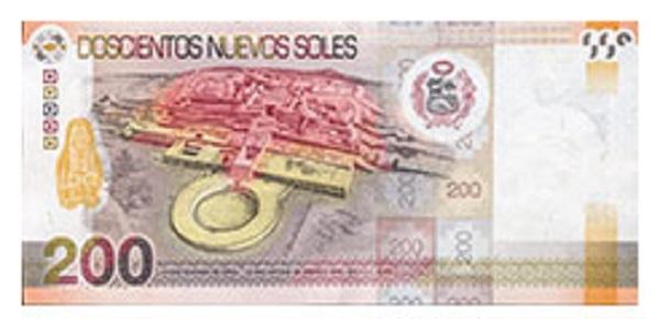 Achterkant bankbiljet 200 Peruaanse Nueva Sol