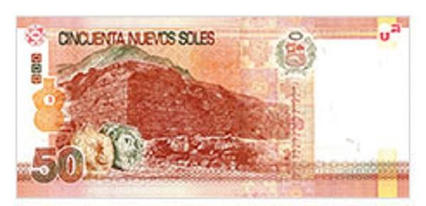Achterkant bankbiljet 50 Peruaanse Nueva Sol