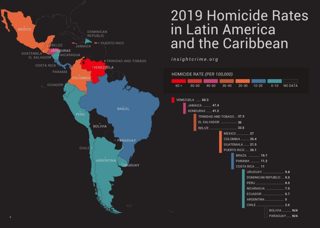 Kaart met aantal moorden per land per 100000 inwoners van Latijns Amerika