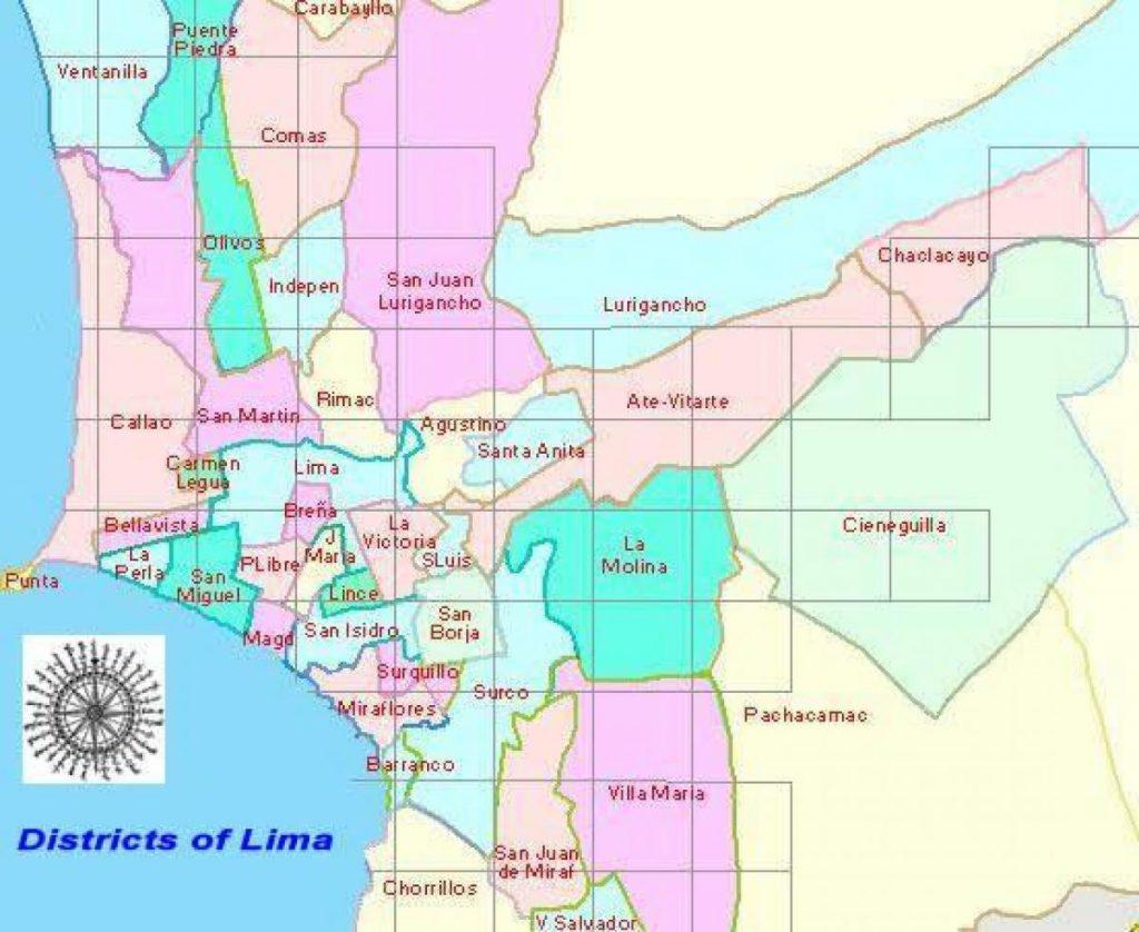 Kaart met districten van Lima