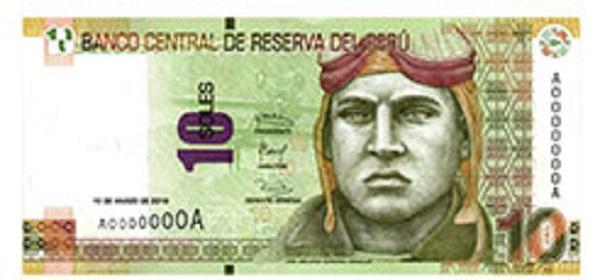 Voorkant bankbiljet 10 Peruaanse Nueva Sol
