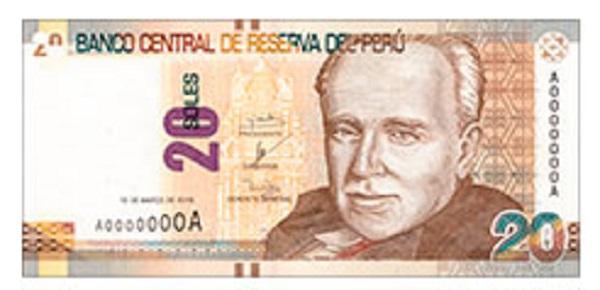 Voorkant bankbiljet 20 Peruaanse Nueva Sol