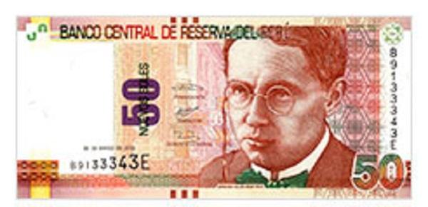 Voorkant bankbiljet 50 Peruaanse Nueva Sol